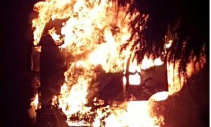 Mesero: a fuoco un camion trasporto di cavalli