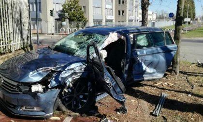 Rho: Auto contro albero, paura su viale De Gasperi