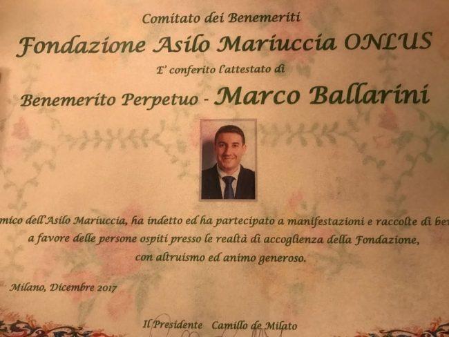 Corbetta, la fondazione asilo mariuccia premia il sindaco