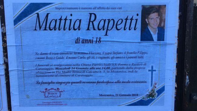 Caravaggio, Mattia Rapetti muore improvvisamente a 18 anni: aveva una banale influenza