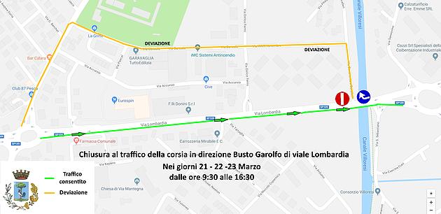 Parabiago, chiusura viale Lombardia_cartina