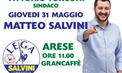 Matteo Salvini ad Arese per sostenere Vittorio Turconi