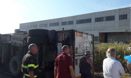 Si ribalta camion che trasporta carne