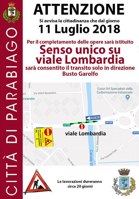 Parabiago, senso unico in viale Lombardia