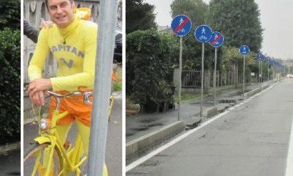 """Striscia la Notizia a Garbagnate per la """"foresta segnaletica"""" sulla ciclabile"""