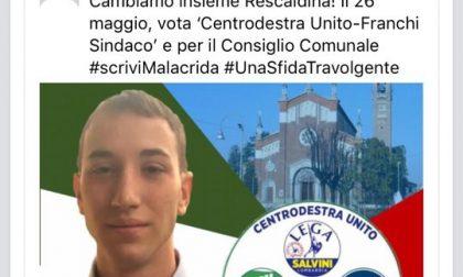 Elezioni Rescaldina, rimossa immagine del profilo di Matteo Malacrida
