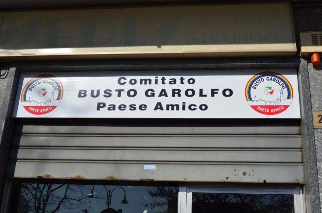 Busto Garolfo, insegna nella sede elettorale di Busto Garolfo Paese Amico