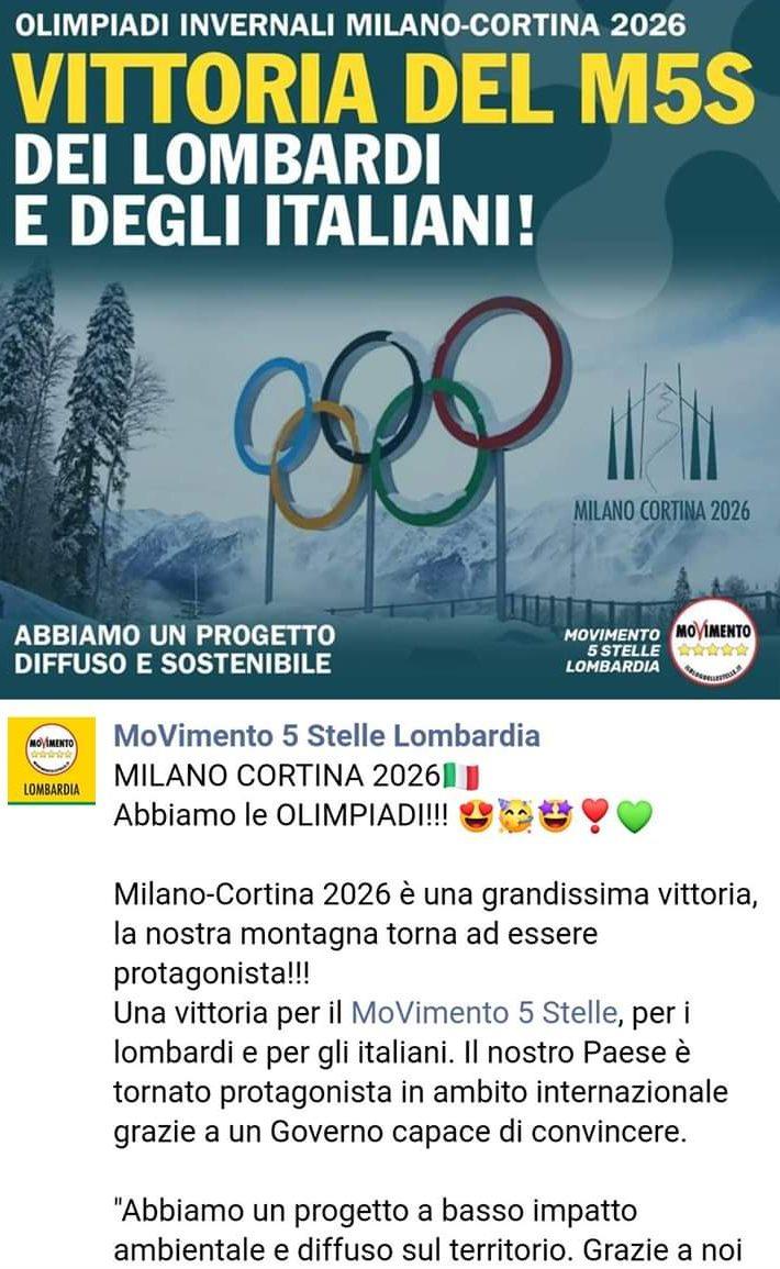 olimpiadi invernali 2026 milano-cortina movimento 5 stelle