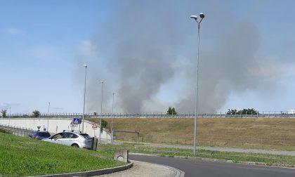 Incendio a Saronno, colonna di fumo visibile in tutta la zona