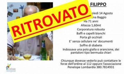 Ritrovato Filippo Vasta, il 71enne scomparso mercoledì da Milano