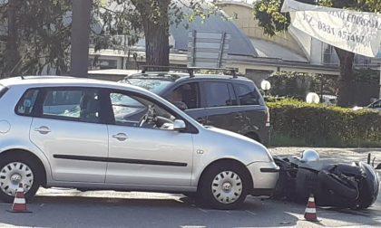 Auto contro moto, paura sul Sempione a Nerviano