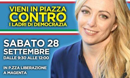 """""""Fratelli d'Italia dice NO al Governo degli Inciuci"""": banchetto a Magenta"""