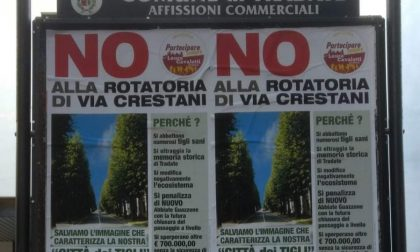 Manifesti a Tradate contro la rotonda di via Crestani