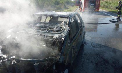Auto in fiamme: intervengono i Vigili del fuoco FOTO