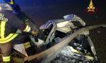 Motta, fuori strada di notte: auto incastrata nel guardrail FOTO