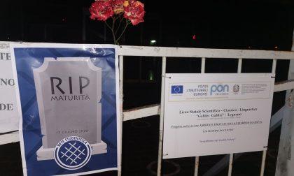 """Una rosa e una carta funebre annunciano la """"morte della maturità"""" FOTO"""