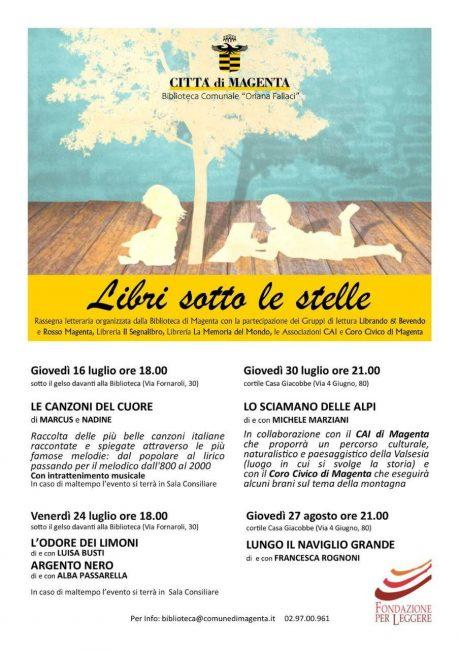 Al via giovedì 16 luglio la rassegna letteraria Libri sotto le stelle organizzata dalla biblioteca di Magenta