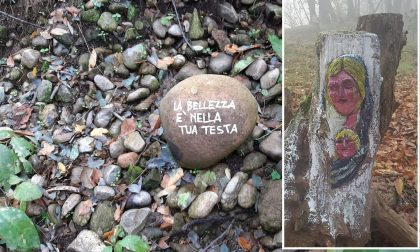 Sassi con messaggi e Madonnina su un tronco: chi sono i misteriosi artisti del Roccolo? FOTO
