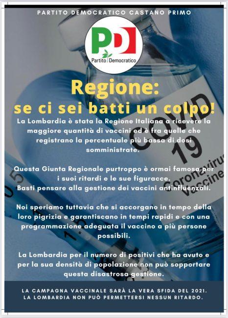 Castano Primo, Pd contro tempistiche vaccini Regione