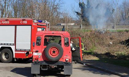 Bruciano sterpaglie, incendio a pochi metri dalla strada