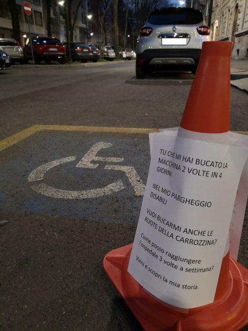 Tagliano le ruote dell'auto, la protesta della disabile parabiaghese Priscilla Losco