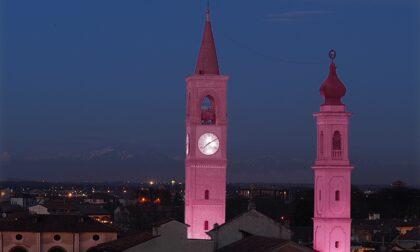 Giro d'Italia: i campanili di Abbiategrasso illuminati di rosa