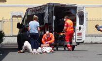 Cade nel parcheggio della concessionaria auto, arriva l'ambulanza