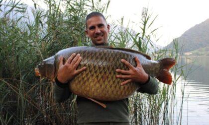 L'impresa di Marco Versienti, che ha pescato una carpa di oltre 30 chili nel Lago di Endine