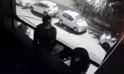 Le telecamere riprendono due ladri che cercano di entrare in casa